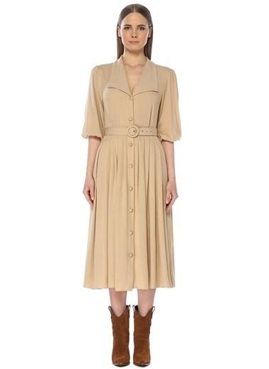 NetWork Kadın 1073850 Regular Fit Yaka Detaylı Midi Elbise Bej